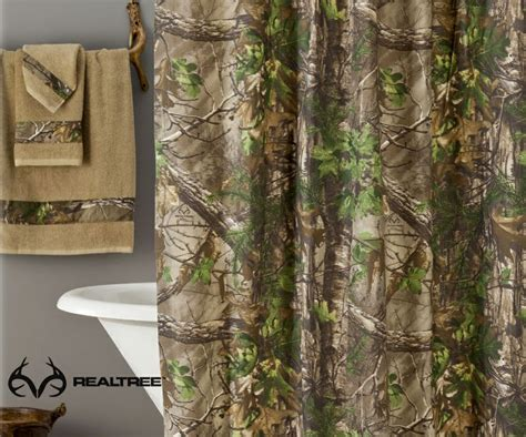 camoflauge curtains realtree xtra green shower curtain camo pinterest