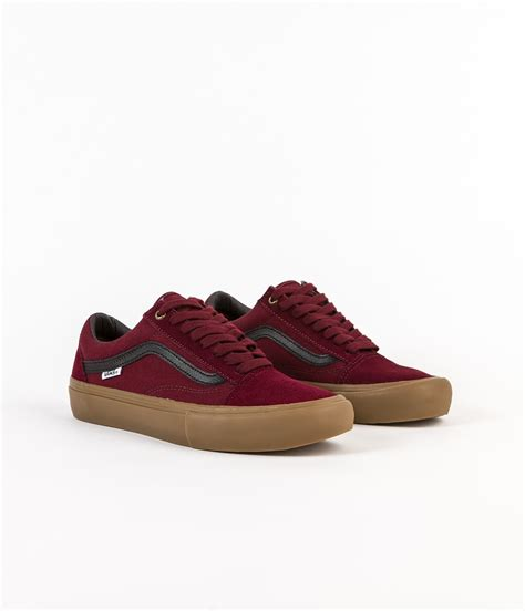 Vans Os Maroon vans skool pro shoes port black gum flatspot