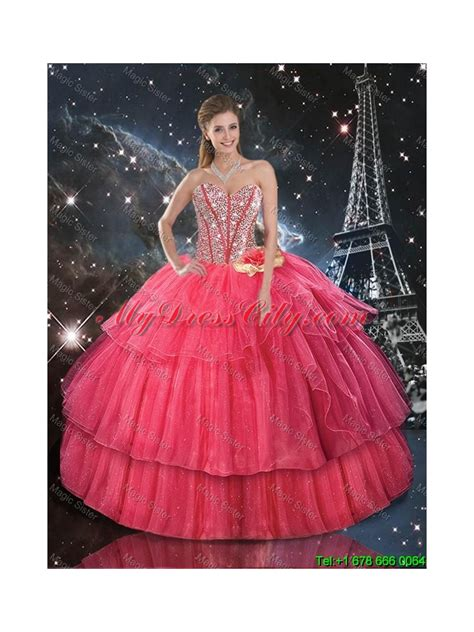 paris themed quinceanera dresses 2016 winter perfect hand made flowers coral red