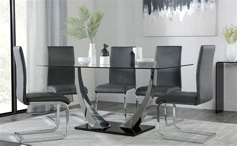 grey table l base peake glass and chrome dining table black gloss base