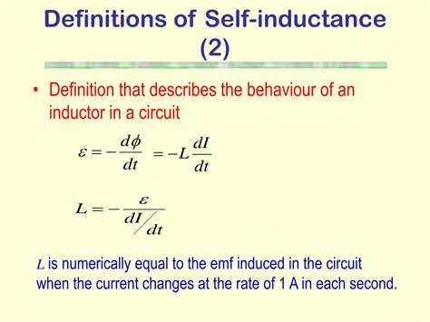 self inductance of an ideal inductor ppt electromagnetic induction powerpoint presentation id 228996