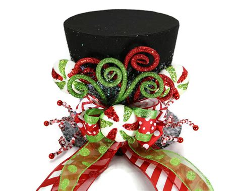 christmas hat themes candy christmas tree topper black candy cane tree topper