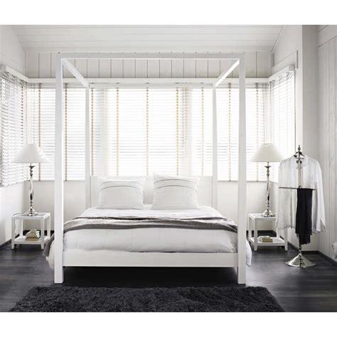 letto baldacchino bianco letto a baldacchino 160 x 200 bianco sporco in pino