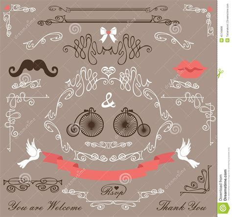 Vintage Wedding Design Elements Set Stock Vector