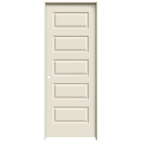 Jeld Wen Prehung Interior Doors Jeld Wen 24 In X 80 In Molded Smooth 5 Panel Primed White Hollow Composite Single Prehung