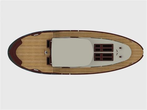 fishing boat top view classic motor yacht in style dutch barge 12m boat design