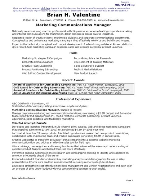 Marketing Communications Manager Resume by Cv Marketing Communications Manager Resume Docshare Tips