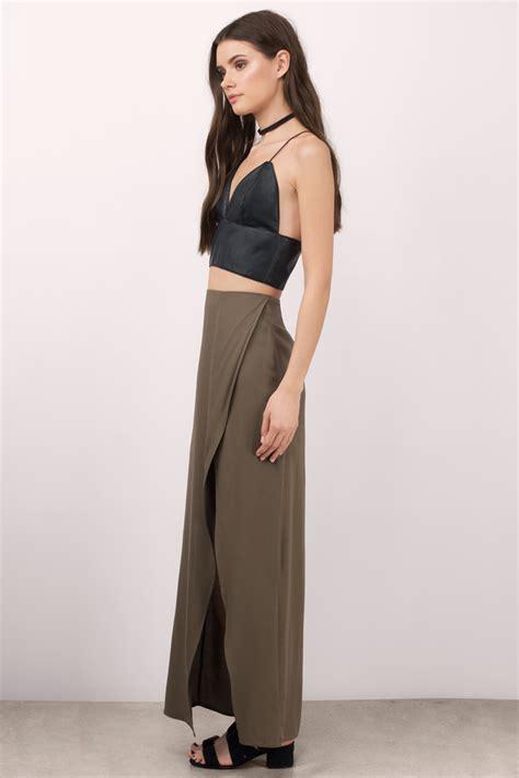 trendy olive skirt maxi skirt high waisted skirt