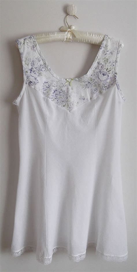 white cotton lilac shabby chic inset chemise just sew