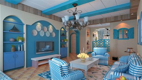 room style mediterranean style living room blue interior design