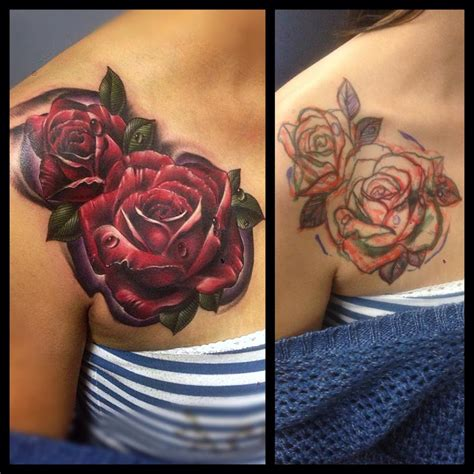 rose tattoo coverup roses cover up flower