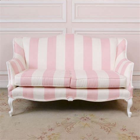 shabby chic settee furniture striped suede loveseat sofa 1595 00 thebellacottage