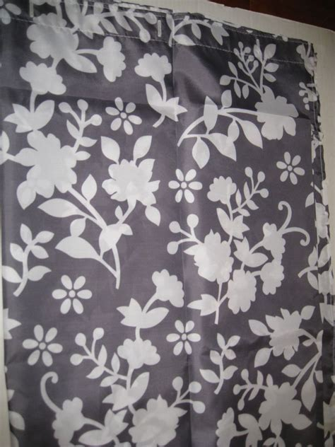 grey and white floral curtains gray grey white floral silouette fabric shower curtain new