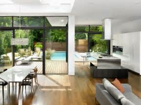 open plan living floor to ceiling glass windows leading