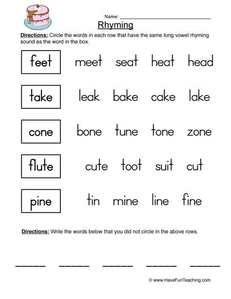 rhyming worksheet 2 teaching