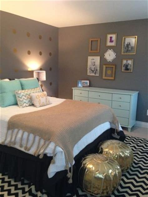 mint gold and gray bedroom bedroom pinterest guest rooms ottomans and grey bedroom colors