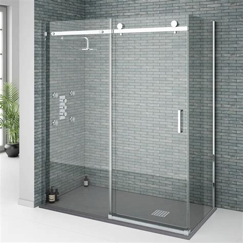 Orion Frameless Sliding Shower Enclosure 1600x800mm At Shower Enclosures Sliding Doors