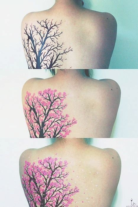 three stepts of a cherry blossom tattoo design of