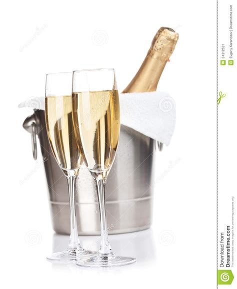 Floor Plan Of A Spa by Two Champagne Glasses And Bottle In Bucket Stock Image