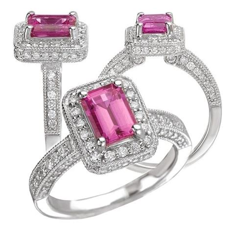 crafted 18k chatham 7x5mm emerald cut pink sapphire
