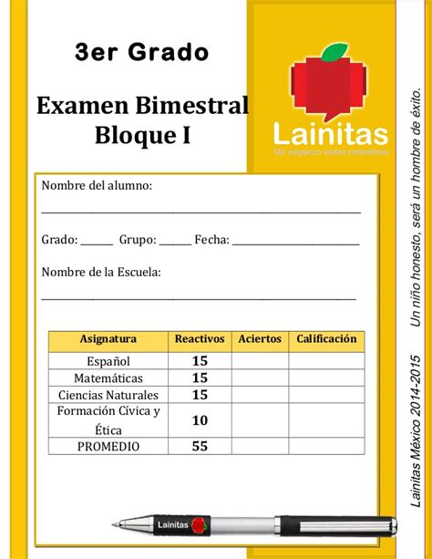 examen de tercer grado de primaria bloque 3 2016 examenes lainitas bloque tres tercer bimestre