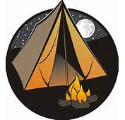 Night Time Cartoon Of A Tent And Camp Fire