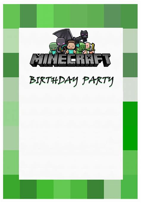 minecraft invitation template free free minecraft invitation free printable invitation