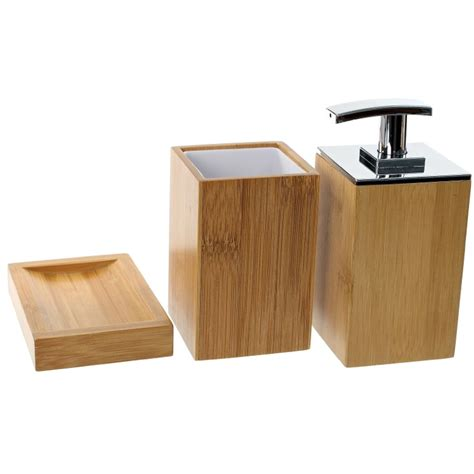 bamboo bathroom accessories set gedy po281 35 by nameek s potus wooden 3 piece bamboo