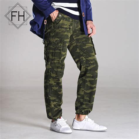 Celana Hip Hop Merah fuhao mens militer kamuflase celana fashion celana kasual harem celana baggy khaki hommes taktis