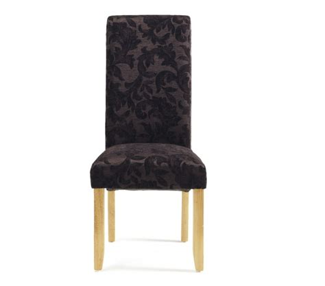 Aubergine Dining Chairs Serene Kingston Aubergine Floral Fabric Dining Chairs With Oak Legs Pair By Serene Furnishings