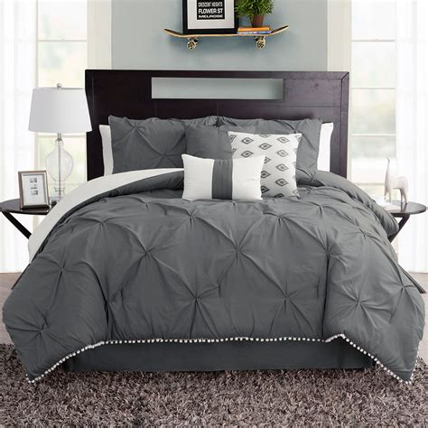 dark gray bedding callie dark gray pintuck 7 pc comforter bed set
