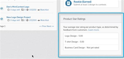 designcrowd verification product update mini contests and designer star ratings
