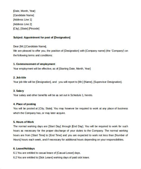 appointment letter format terms and conditions 25 appointment letter templates free sle exle