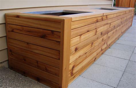 cedar planter boxes wandgestaltung wohnzimmer cedar bench with planter boxes
