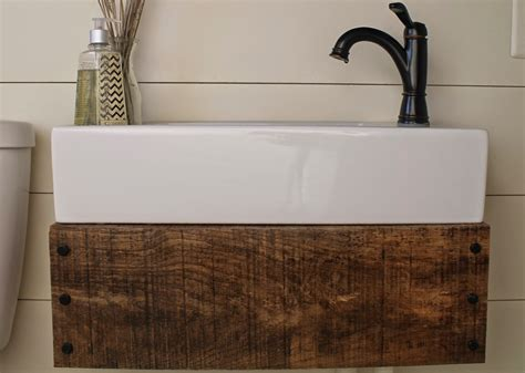 Diy Wood Vanity by Remodelaholic Reclaimed Wood Floating Vanity