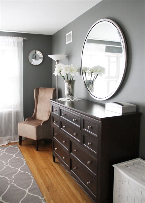 master bedroom dresser round mirror over long dresser both ethan allen paint