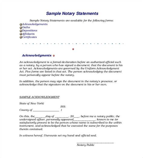 sle notary statements sle notary form statement 9