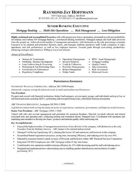 Resume Exles Mortgage Industry mortgage banker resume exle resume exles and resume
