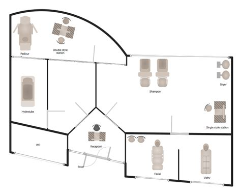 salon and spa floor plans how to draw a floor plan for spa in conceptdraw pro spa