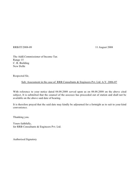 Adjournment Request Letter Exle Letter Format 187 Adjournment Letter Format Cover Letter And Resume Sles