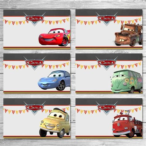 Disney Cars Food Tents Chalkboard Cars Food Labels Disney Auto Labels Templates