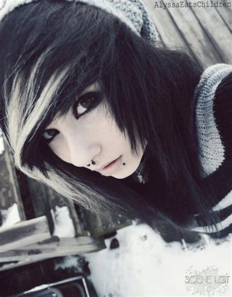 emo hairstyles black and white black and white emo style long wig cosplay halloween goth