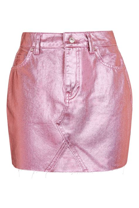 metallic pink moto pink metallic skirt topshop