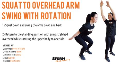 overhead swing squat to overhead arm swing with rotation guide to dynamic