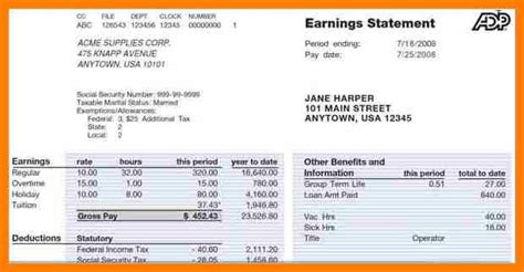 sample quickbooks invoice or check stub template excel 23 7 pay stub