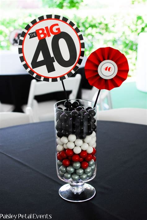 paisley petal events 40th birthday party centerpieces