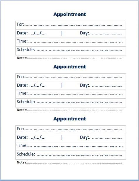 free printable appointment cards templates search