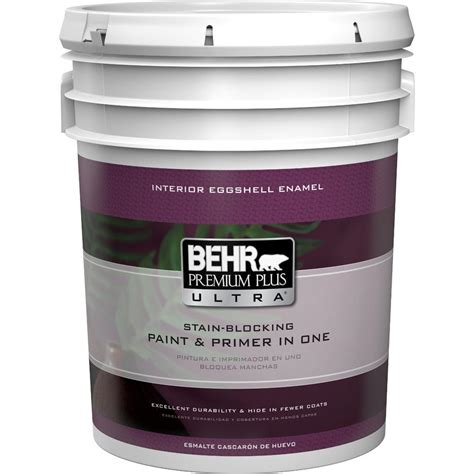 home depot 5 gallon interior paint behr premium plus ultra 5 gal medium base eggshell enamel