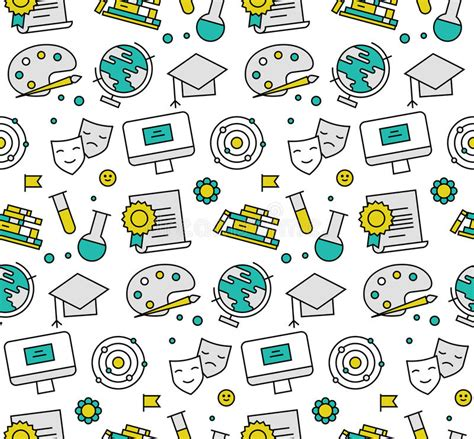 texture pattern learning education elements seamless icons pattern stock vector
