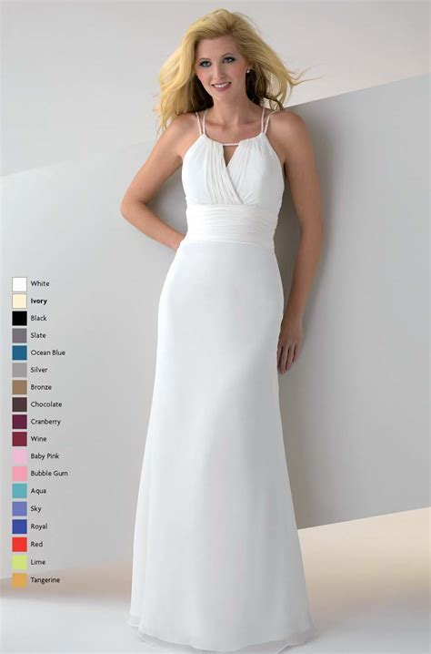 White Floor Length Dresses white a line spaghetti straps open back floor length